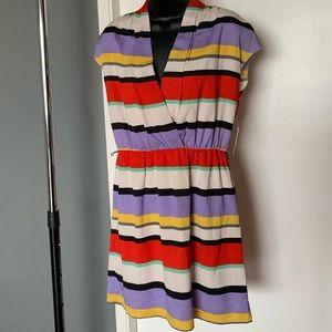 NWT Kensie multi color striped v neck dress size S
